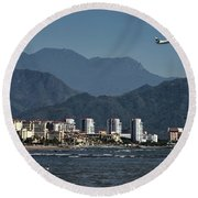 Jet Plane Taking Off From Puerto Vallarta Airport With Pacific O Round Beach Towel