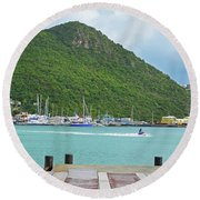 Jet Ski On The Lagoon Caribbean St Martin Round Beach Towel