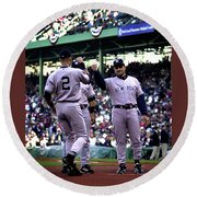Jeter And Torre Round Beach Towel
