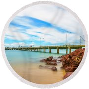 Jetty By The Sea Round Beach Towel