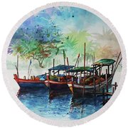 Jetty_01 Round Beach Towel