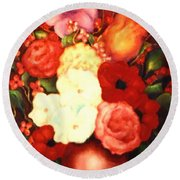 Jewel Flowers Round Beach Towel