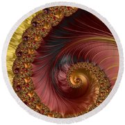 Jewel Gold  Fractal Spiral  Round Beach Towel