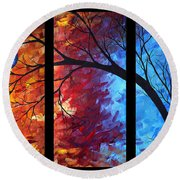 Jewel Tone II By Madart Round Beach Towel