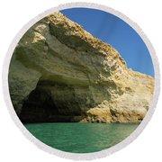 Jewel Toned Ocean Art - Colorful Sea Cave In Algarve Portugal Round Beach Towel