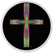 Jeweled Cross On Black Round Beach Towel