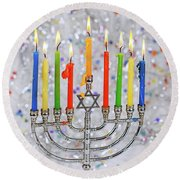 Jewish Holiday Hannukah Symbols - Menorah Round Beach Towel
