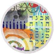 Jewish Life 1- Art By Linda Woods Round Beach Towel