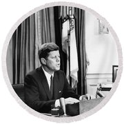 Jfk Addresses The Nation  Round Beach Towel by War Is Hell Store