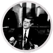 Jfk Announces Moon Landing Mission Round Beach Towel by War Is Hell Store