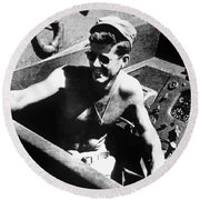 Jfk On Pt 109 Painting Round Beach Towel by War Is Hell Store