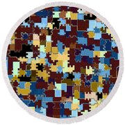 Jigsaw Abstract Round Beach Towel