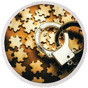 Jigsaw Of Misconduct Bribery And Entanglement Round Beach Towel