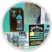 Jim Beam Signs On Display - Color Invert Round Beach Towel
