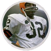 Jim Brown, Cleveland Browns, Signed Round Beach Towel