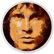 Jim Morrison - Digital Art Round Beach Towel