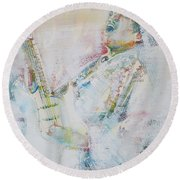 Jimi Hendrix Playing The Guitar.9 - Watercolor Portrait Round Beach Towel