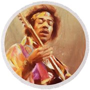 Jimi Jamming Round Beach Towel