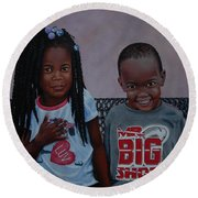 Jimia And Mr Bigshot Round Beach Towel