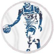 Jimmy Butler Minnesota Timberwolves Pixel Art 5 Round Beach Towel