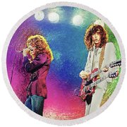 Jimmy Page - Robert Plant Round Beach Towel