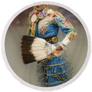 Pow Wow Jingle Dancer 7 Round Beach Towel