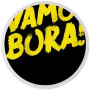Jiu Jitsu Design Vamo Bora Yellow Light Martial Arts Round Beach Towel