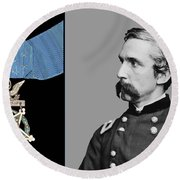 J.l. Chamberlain And The Medal Of Honor Round Beach Towel by War Is Hell Store