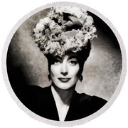 Joan Crawford, Hollywood Legend By John Springfield Round Beach Towel