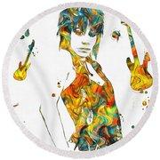 Joan Jett Colorful Paint Splatter Round Beach Towel