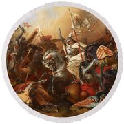 Joan Of Arc In The Battle Round Beach Towel