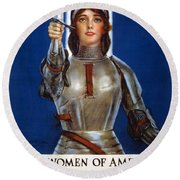 Joan Of Arc Saved France. Women Of America Save Your Country. Buy War Savings Stamps Round Beach Towel