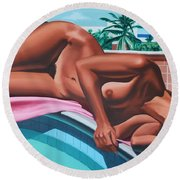 Poolside Dreaming Round Beach Towel