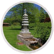 Joe And Marie Schedel Pagoda-horizontal Round Beach Towel