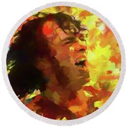 Joe Cocker Colorful Palette Knife Round Beach Towel