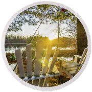 Joe Lake Round Beach Towel