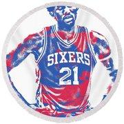 Joel Embiid Philadelphia Sixers Pixel Art 10 Round Beach Towel