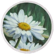 Joe's Daisies Round Beach Towel