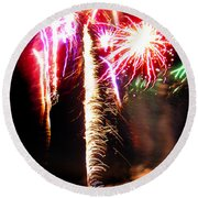 Joe's Fireworks Party 1 Round Beach Towel