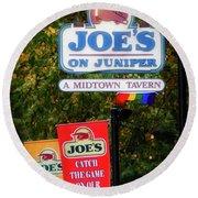 Joe's On Juniper Round Beach Towel