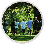 Joggers In The Park Round Beach Towel by Susan Savad