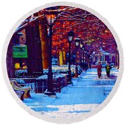 Jogging In The Snow Along Boathouse Row Round Beach Towel