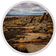 Joggins Fossil Cliffs Round Beach Towel