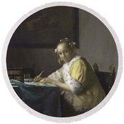 Johannes Vermeer A Lady Writing C.  Painting Round Beach Towel