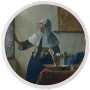 Johannes Vermeer Young_woman Round Beach Towel