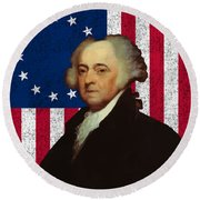 John Adams And The American Flag Round Beach Towel