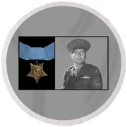 John Basilone And The Medal Of Honor Round Beach Towel