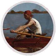 John Biglin In A Single Scull Round Beach Towel