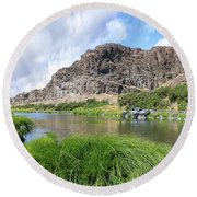 John Day River Landscape In Summer Portrait Round Beach Towel