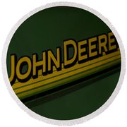 John Deere Signage Decal Round Beach Towel